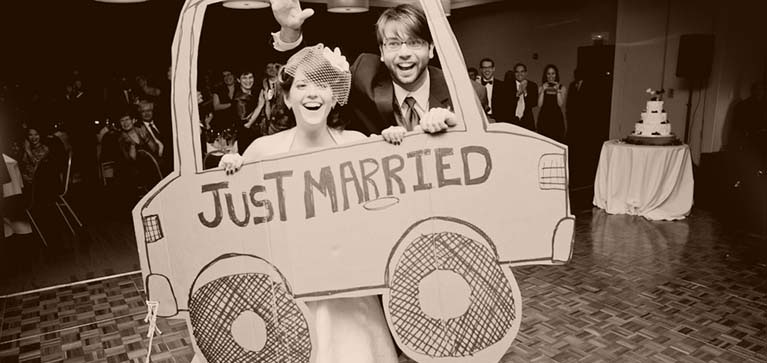 Just Married cardboard car