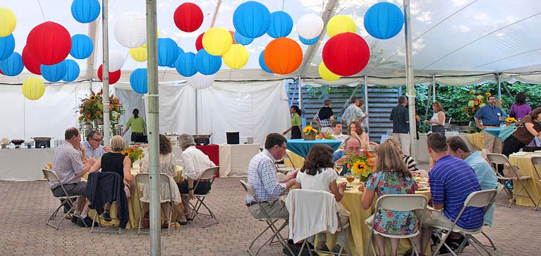 tent event with baloons