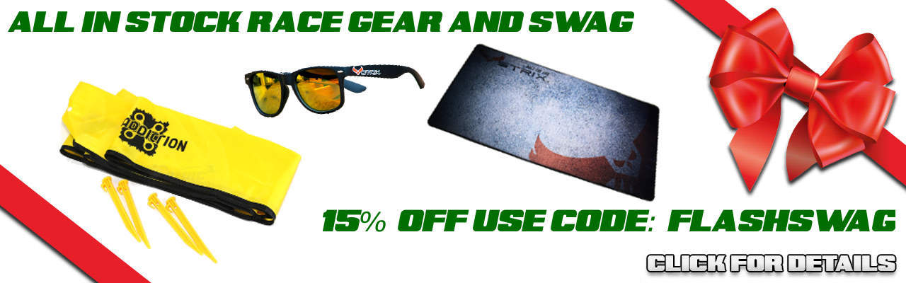 Save 15% on IN STOCK Race Gear and SWAG