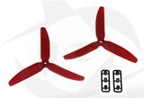 Gemfan 3 Blade Propeller - 5 x 3 (2PCS, CW & CCW) RED