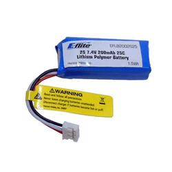 Battery - 200mAh 2S 7.4V 25C LiPo, 26AWG EFLB2002S25