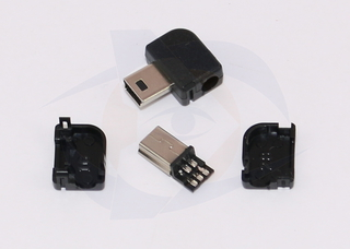 Mini USB 5 Pin Male Right Angle Connector (with housing)