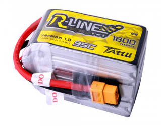 Tattu R-Line 1800mAh 95C 6S1P LIPO Battery Pack with XT60 Plug