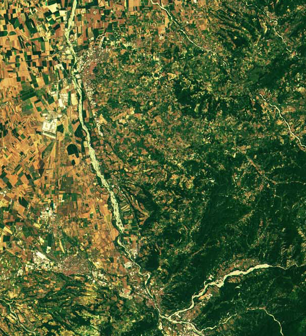 Sentinel-2A Satellite Image NW Italy South France