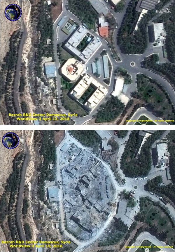 WorldView-3 Satellite Photos Syria Missile Attack