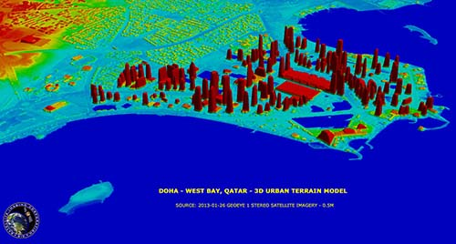 GeoEye-1 3D Urban Terrain Model