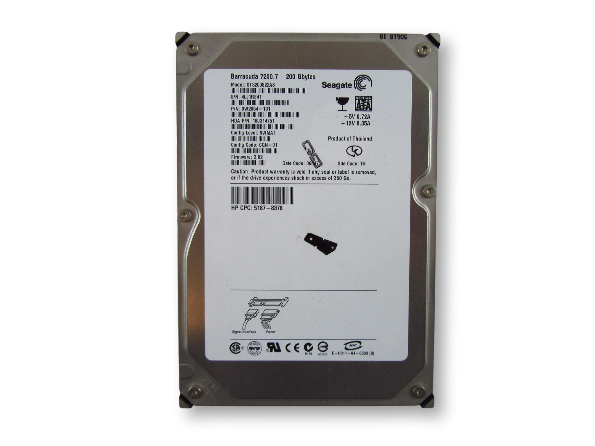 "Seagate Barracuda 7200.7 200GB 7200RPM 3.5"" SATA HDD (ST3200822AS)"