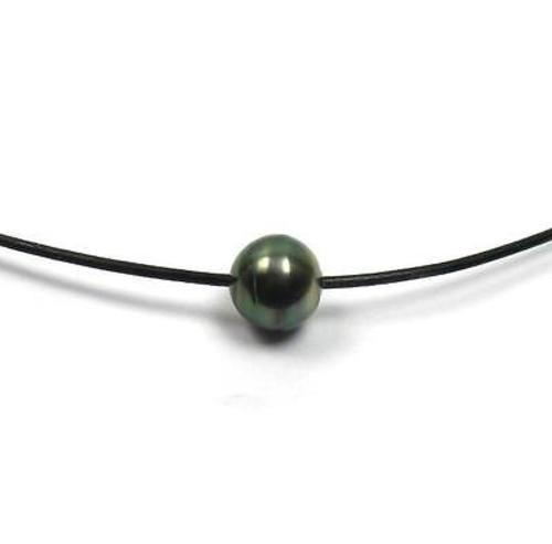 Tahitian Pearl And Leather Necklace: 11 12mm Tahitian Black Pearl 1 5mm Leather Cord Necklace