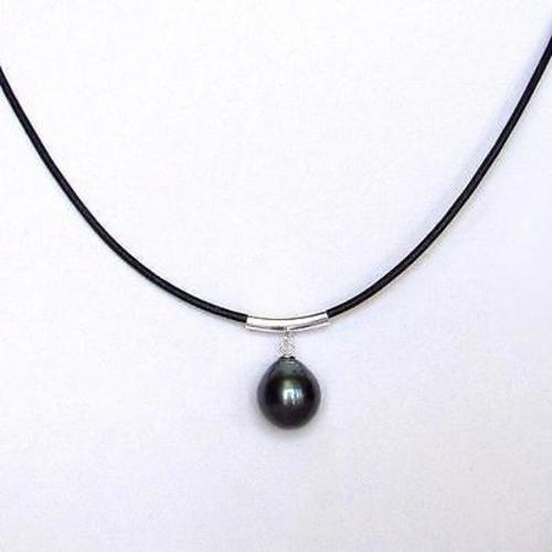 "Tahitian Pearl And Leather Necklace: 18"" 11-12MM Tahitian Black Pearl 1.5MM Leather Cord"