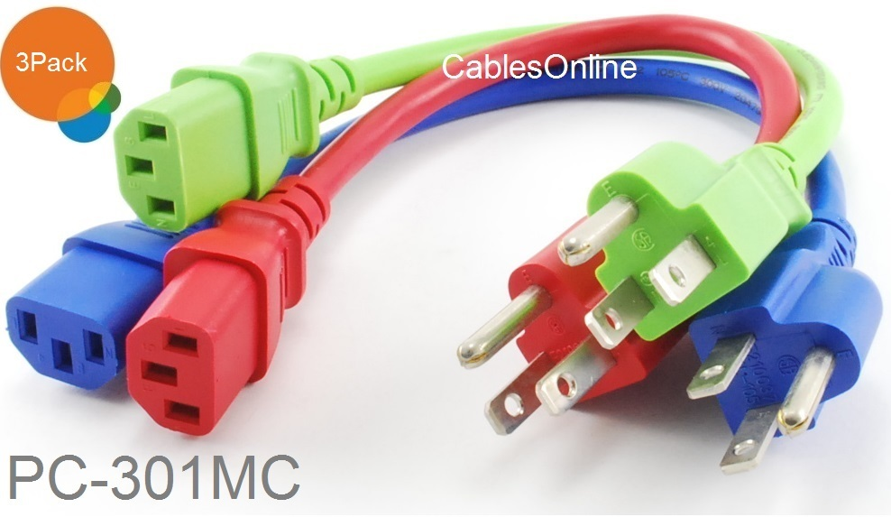 Details about 3-Pack 1ft Short 3-Conductor AC Power Cable Three Colors on