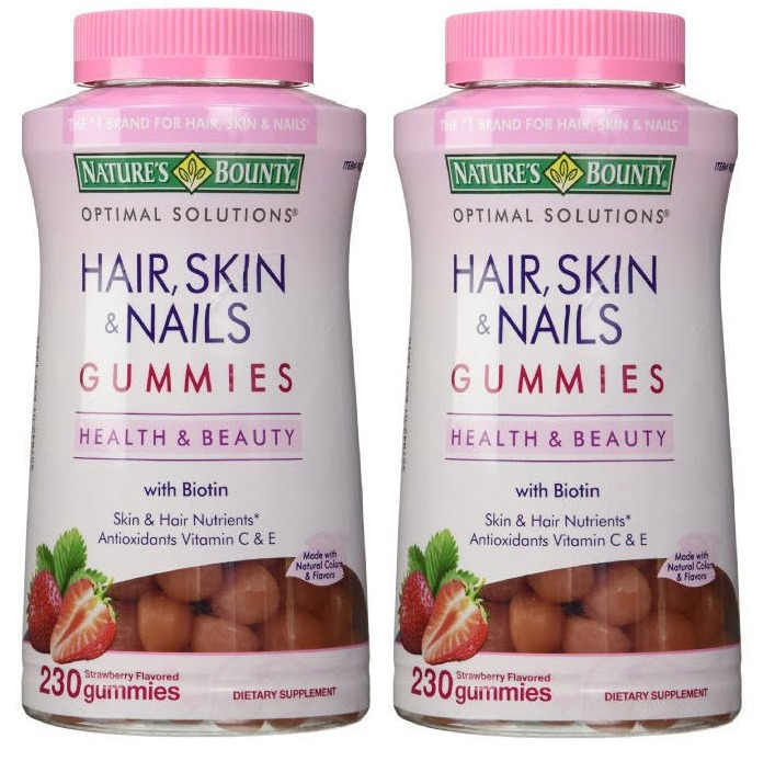 2pk Nature\'s Bounty Hair Skin & Nails w/ Biotin Strawberry 230 ...
