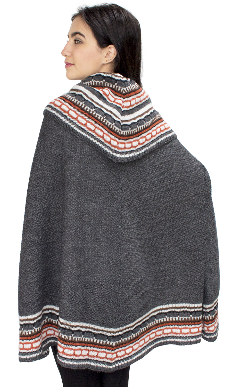 Womens-Superfine-Alpaca-Wool-Turtleneck-Knitted-Poncho-Cape-One-Size
