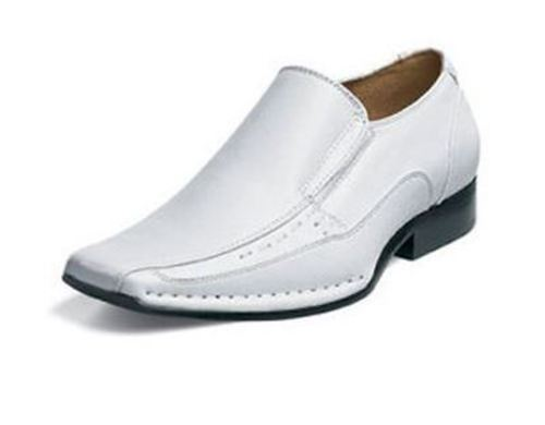 506e9e5eadb Stacy Adams Templin Men s White Leather Slip On Comfort Bike Toe ...