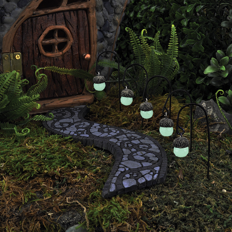 My Fairy Gardens Mini Glowing Acorn Path Lights Set Of