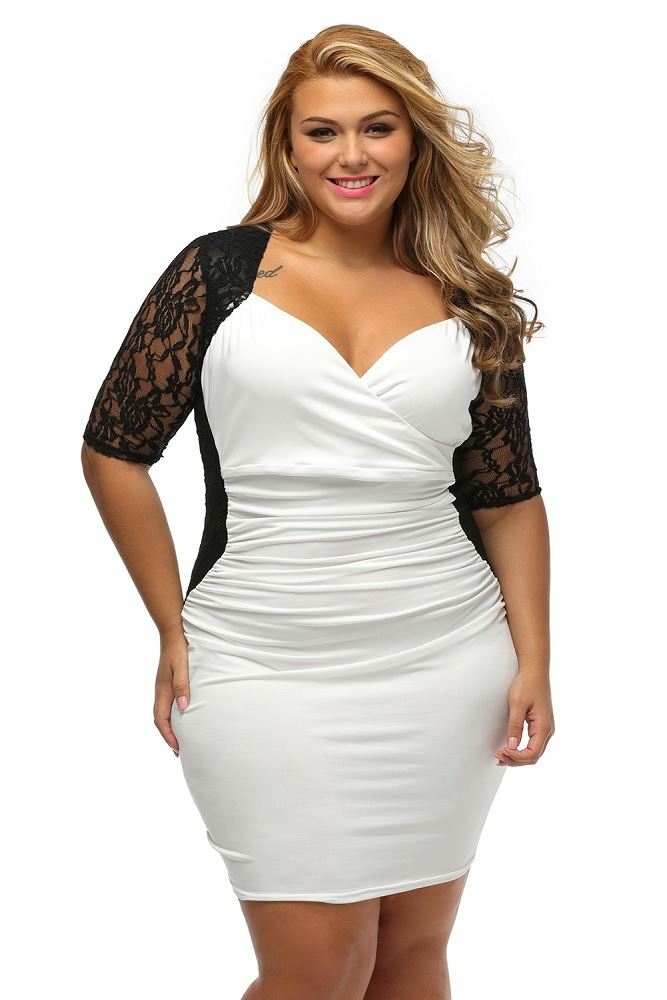 Plus Size Clothing 3X 5X Sheer Lace Sleeves Ruched Bodycon ...