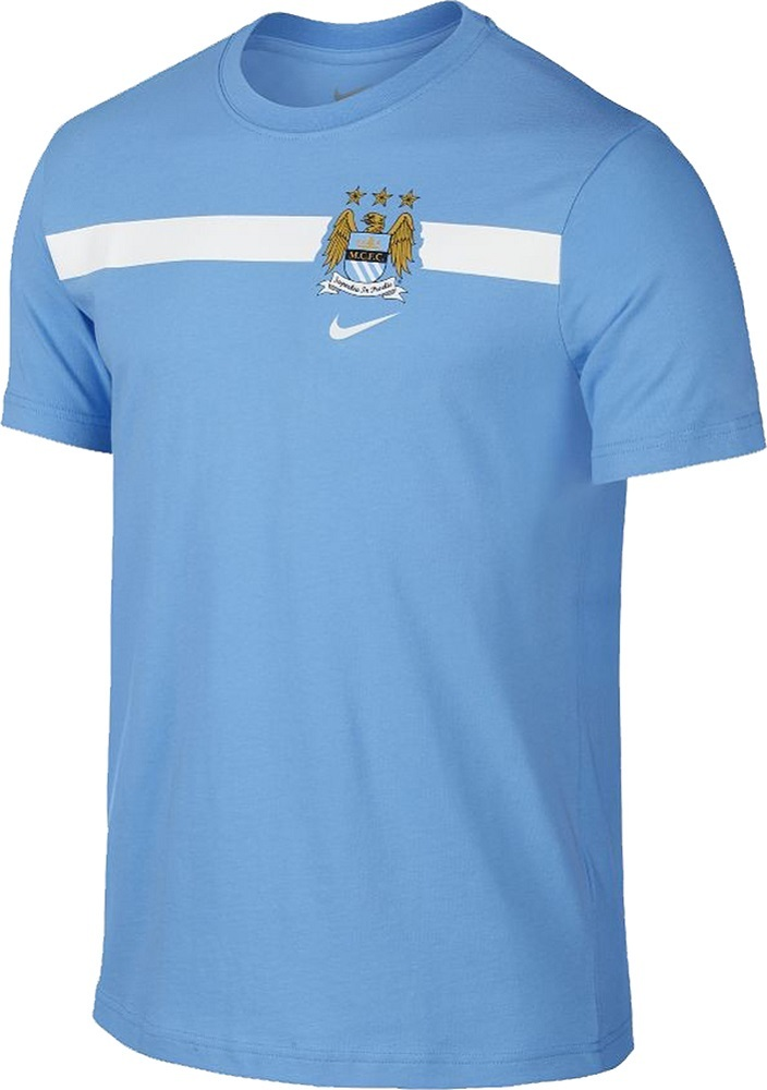 fea5a91069a Details about Nike Manchester City FC Mens MCFC Soccer Crest Core Stripe T- Shirt NEW