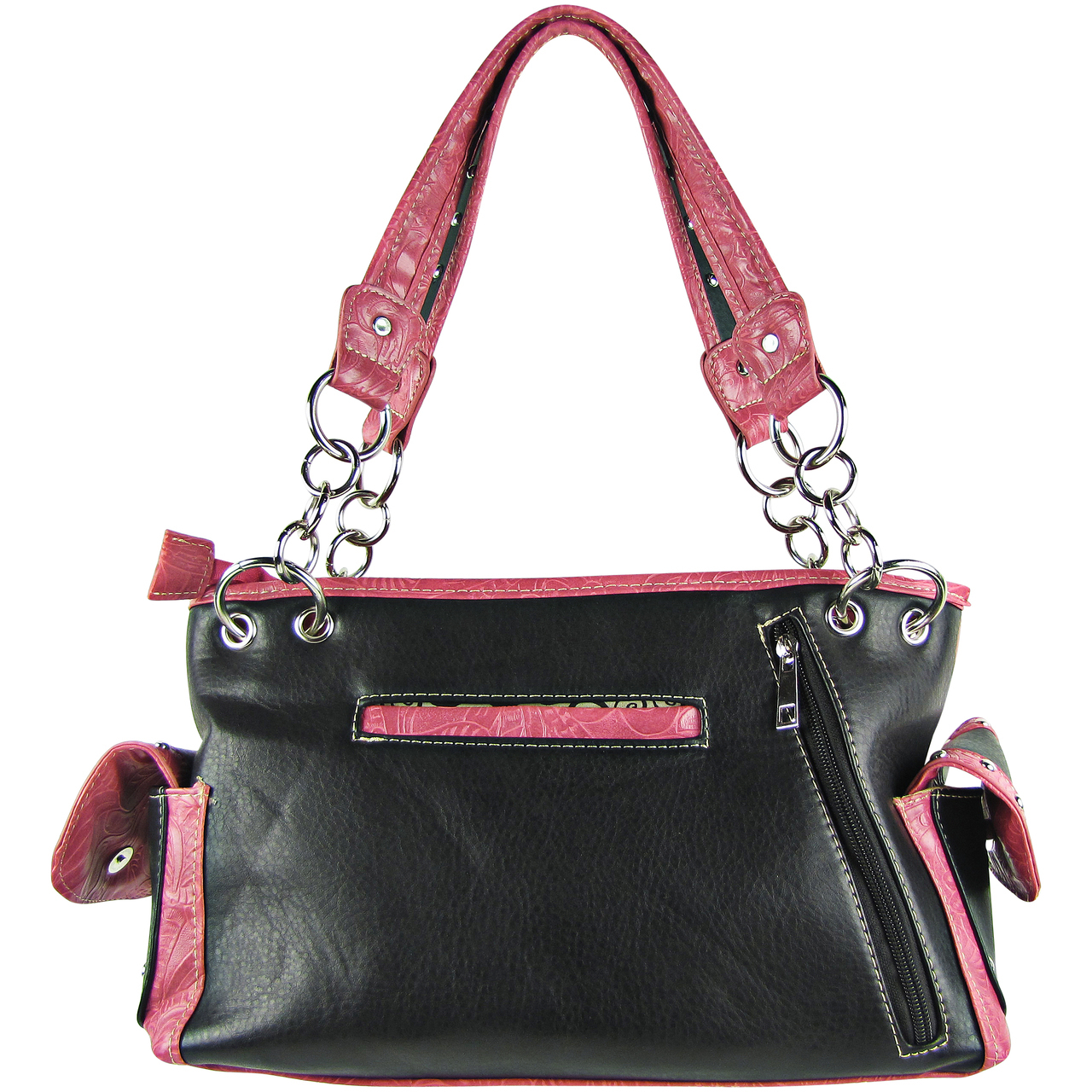 hot pink rhinestone cross stitched shoulder handbag