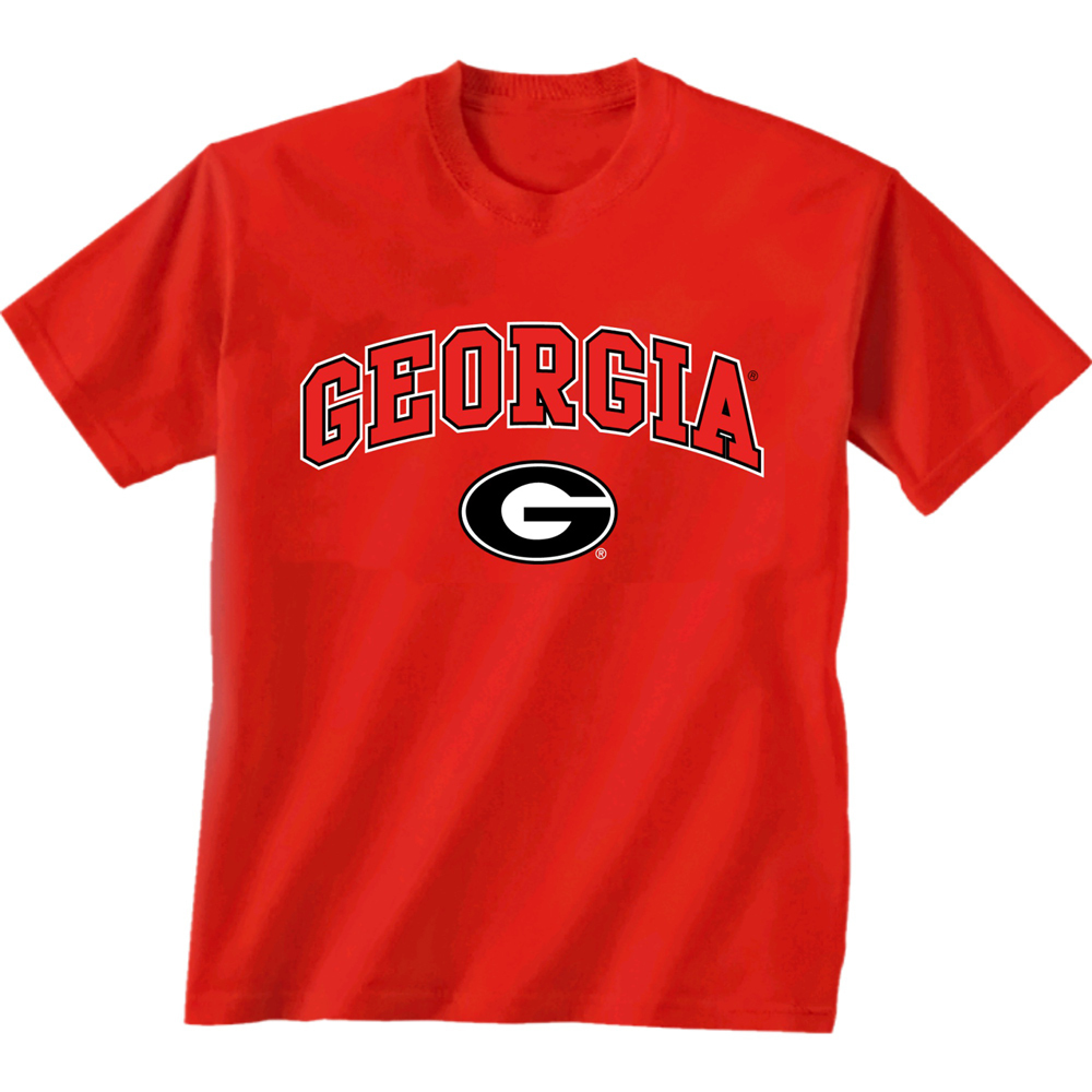 georgia bulldog t shirts georgia bulldogs arch n logo t shirt red ebay 693