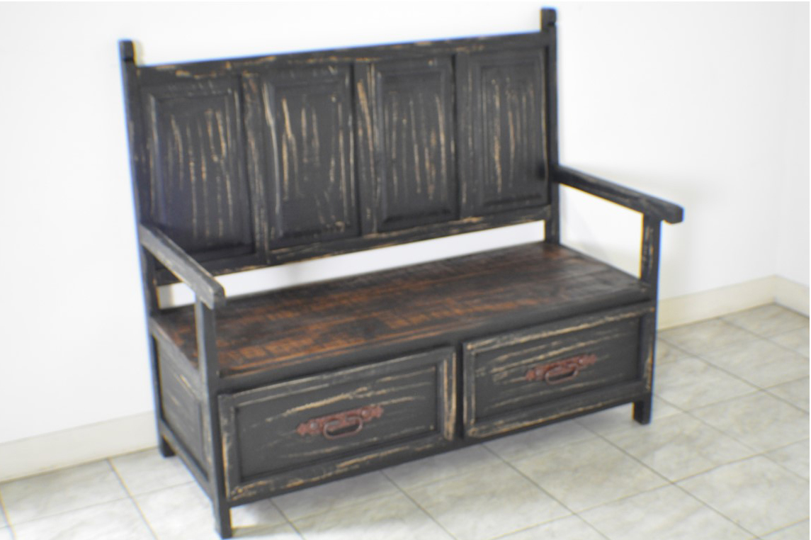 Black Distressed Rustic Monasterio Storage Bench Ebay