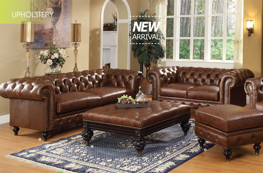 appealing traditional leather living room set | 5-pc Shantoria Dark Brown Bonded Leather Traditional ...