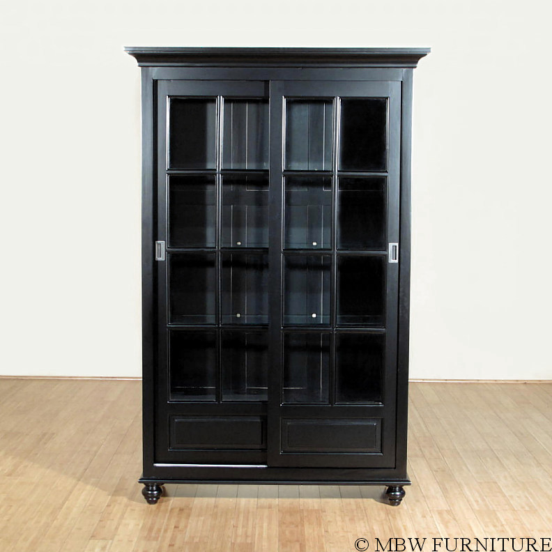 Black Curio China Display Cabinet W/ 2 Sliding Glass Doors