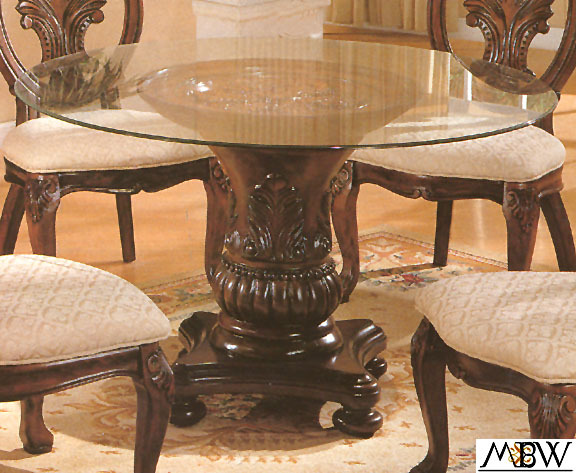 Round Glass Dining Table 48 Inches: 48 Inch Cherry Finish Carved Single Pedestal Base W/ Round