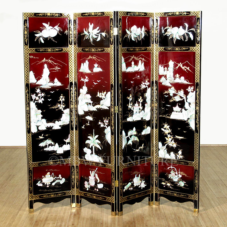 Mother Of Pearl Inlay Wooden Mini Folding Screen Asian: Antique Japanese Red & Black Mother Of Pearl Shoji Folding