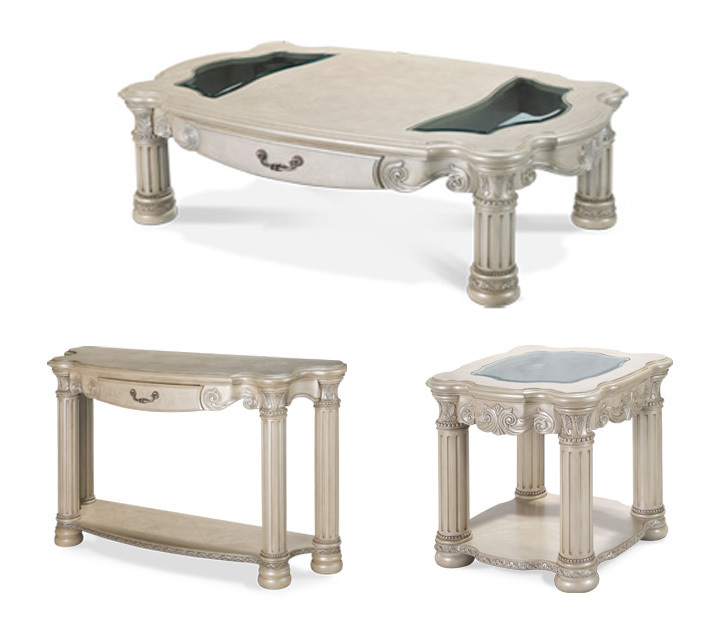 silver pearl 3 pc coffee table set ebay. Black Bedroom Furniture Sets. Home Design Ideas