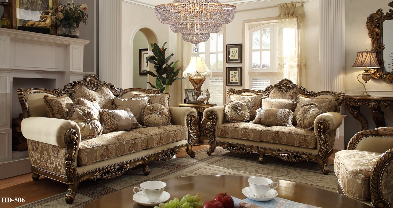 Homey design 7 pc italian style traditional living room set