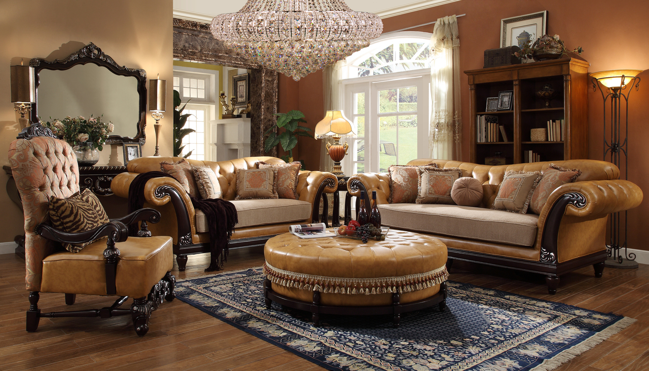 Homey Design Faux Leather 6-pc Traditional Living Room Set ...