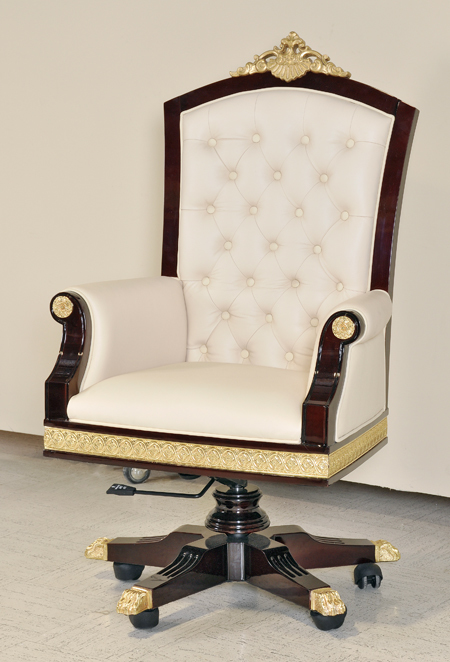 Infinity Dark Burl Gold Button Tufted Leather Office Chair