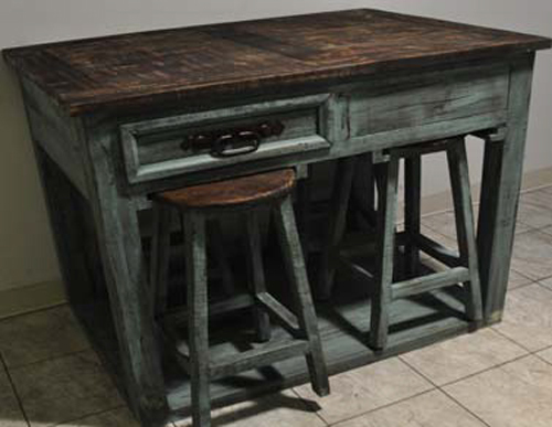 5pc Aqua Distressed Kitchen Island With Stools Ebay