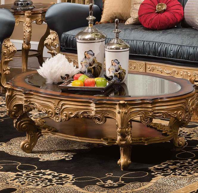 Antique Gold And Glass Coffee Table: Medici Antique Gold/Glass Oval Cocktail Table