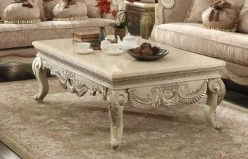 2 PC French Provincial Antique White Marble Top Coffee