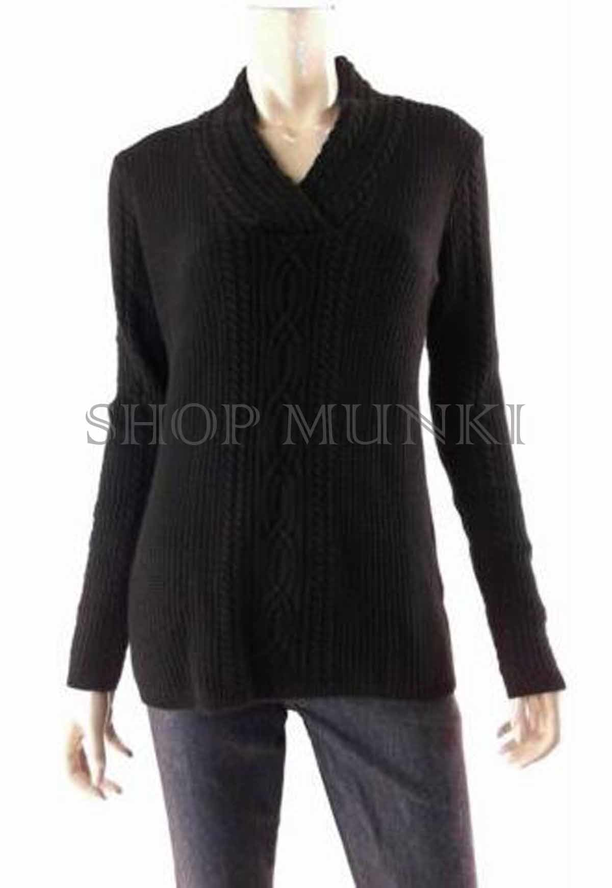 Nautica Fisherman Shawl Collar Sweater Womens Size S Pull Over V ...