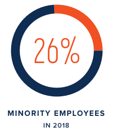 26% Minority Employees in 2018