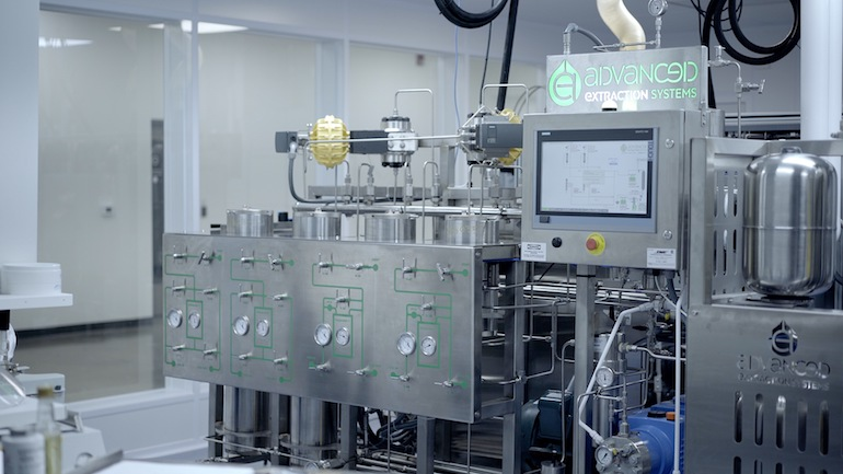 A machine in the MediPharm Labs facility that is used for cannabis oil extraction