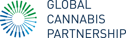 Global Cannabis Partnership logo, blue and green logo with a starburst