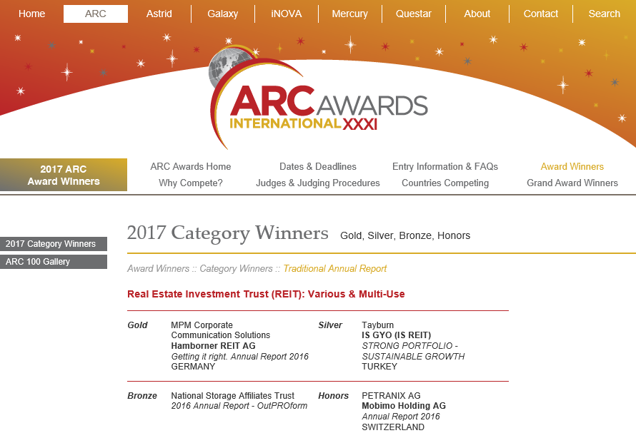 NSA Named ARC Awards Winner for 2016 Annual Report OutPROform  August 2017