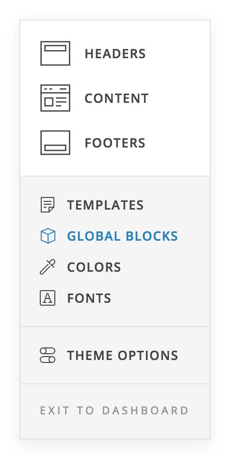 Global Blocks Menu