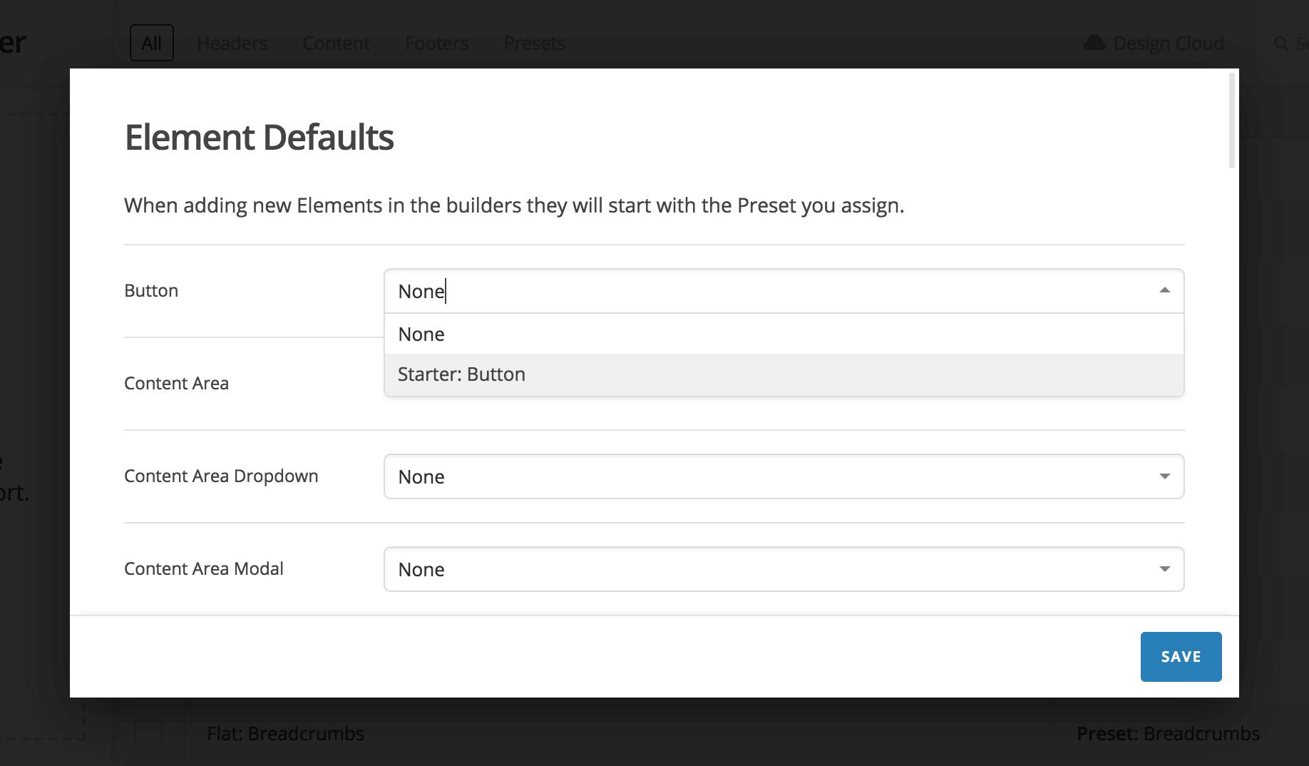 Default Element Selection Interface