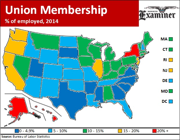 Labor Union States Map.States With Fewer Union Members Are Growing Faster