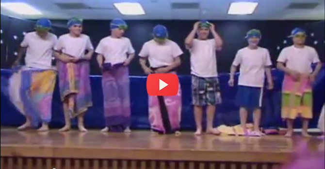 7 kids walk on stage ready for a swim. What they did next will have you rolling on the floor.