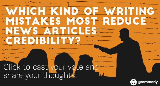 Which kind of writing mistakes most reduce news articles' credibility?
