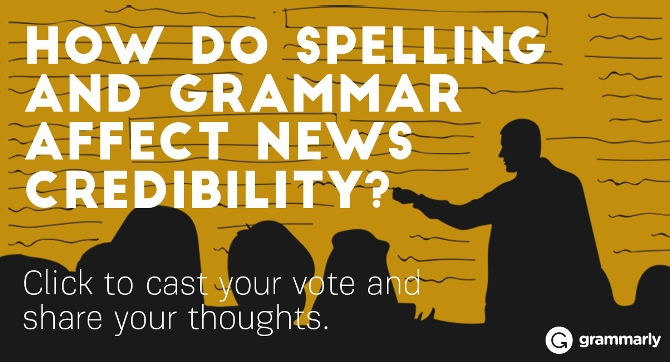 How do spelling and grammar affect news credibility?