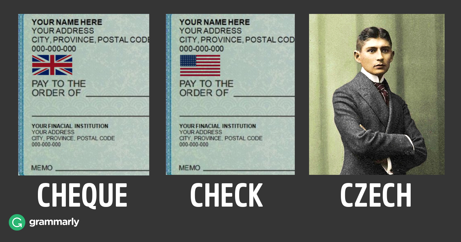 Cheque vs. Check image