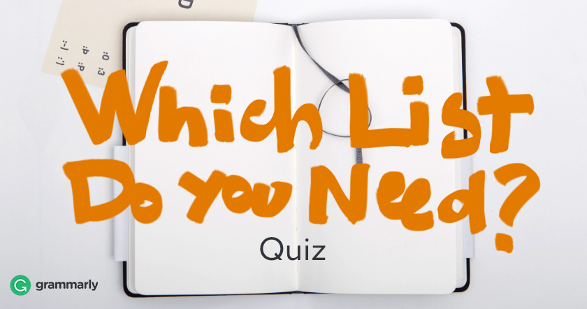 Which List Do You Need Quiz