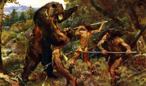 the safety of fear: cavemen hunting wild bear on the plains
