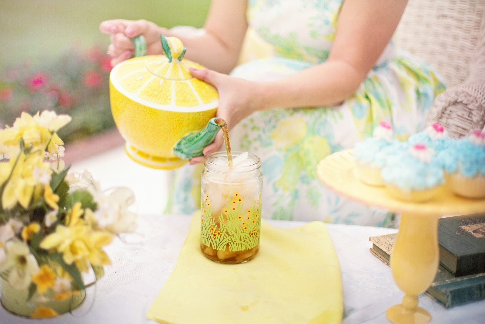 Tea tea time person summer tea party iced tea