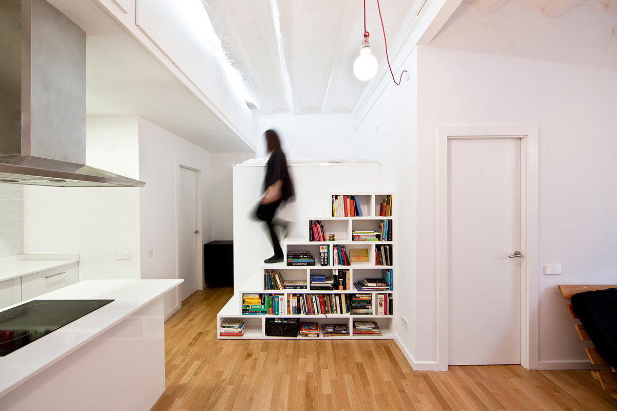 ... Shelves Against The All White Setting And The Stairs Become The  Center Piece Of This Fantastic Space. Tiny Houses Like This Can Make For  Simple Living, ...